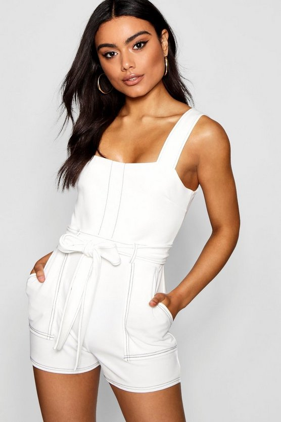 Top Stitch Square Neck Pocket Playsuit