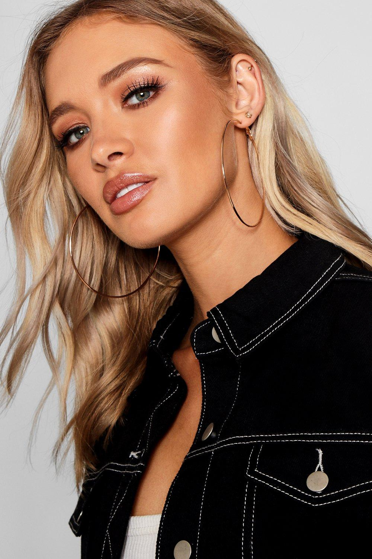boohoo Womens Plain 9Cm Hoop Earrings - Metallics - One Size, Metallics