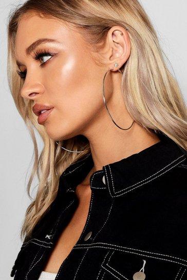 Silver Plain 9cm Hoop Earrings
