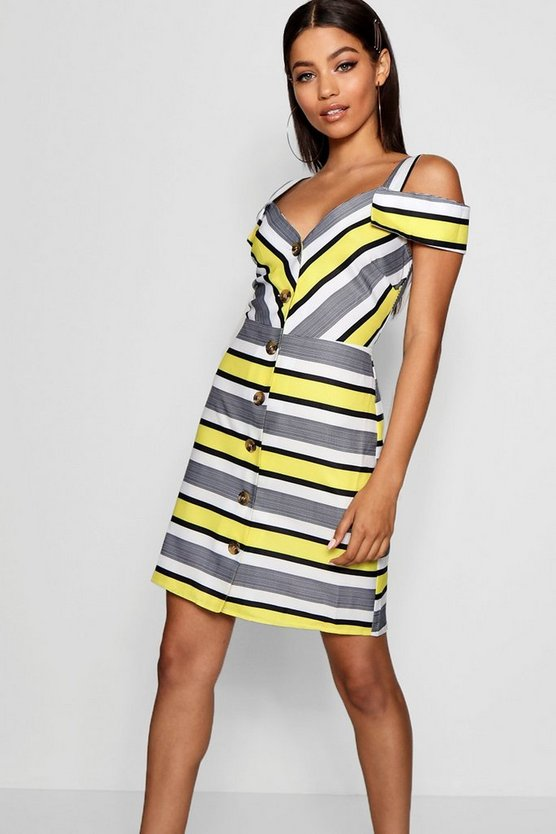 Stripe Cold Shoulder Summer Dress