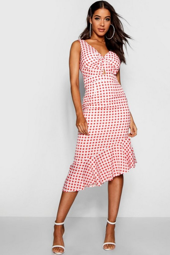 Gingham Ruffle Hem Knot Front Midi Dress