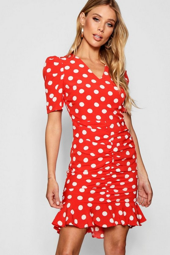 Polka Dot Ruched Front Woven Tea Dress