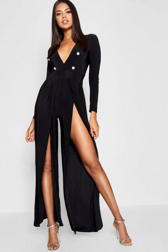 Split Leg Button Detail Plunge Jumpsuit