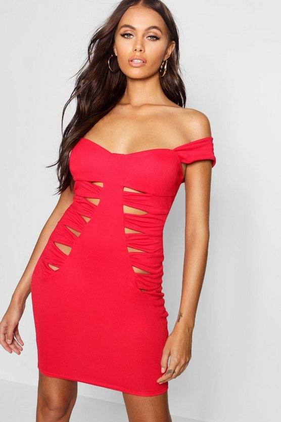 Paris Hilton Ruched Cut Out Detail Mini Dress