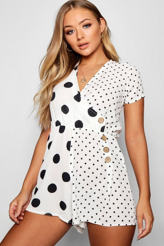 Polka Dot Wrap Button Playsuit