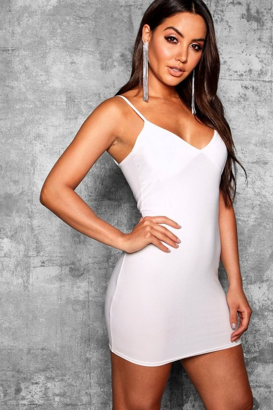 Plunge Neck Fitted Bodycon Dress