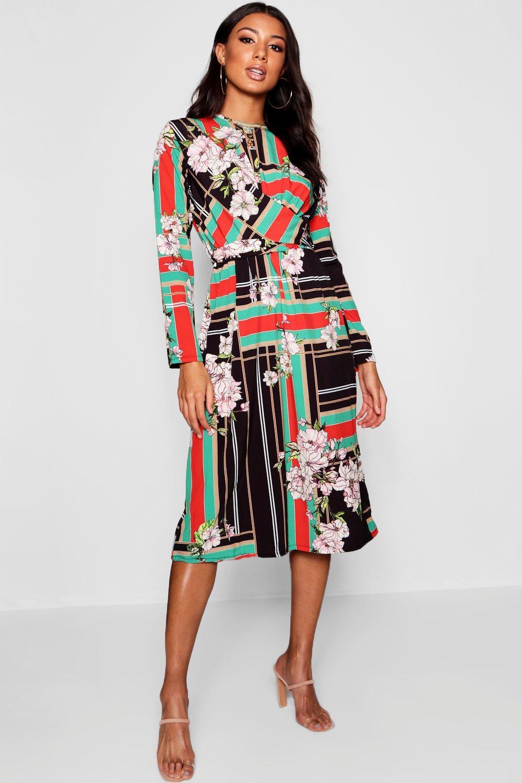 Купить Dresses, Платье миди с запахом в полоску с цветочным рисунком, boohoo