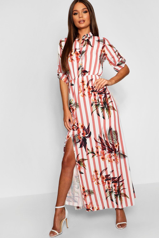 Купить Dresses, Платье-рубашка макси без вороника в полоску с цветочным рисунком, boohoo