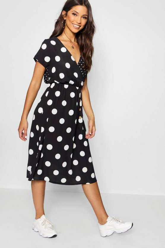 Mixed Polka Dot Button Front Midi Dress