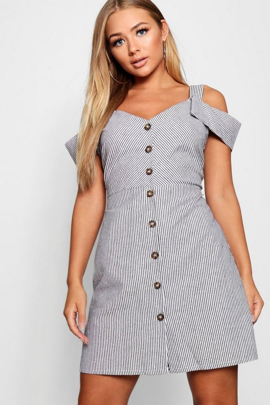 Button Front Cotton Stripe Mini Dress