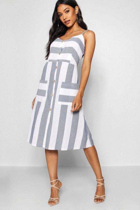 Wide Stripe Cami Midi Dress