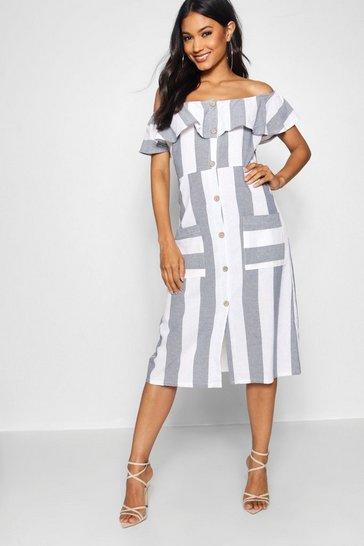 Blue Off The Shoulder Wide Stripe Midi Dress