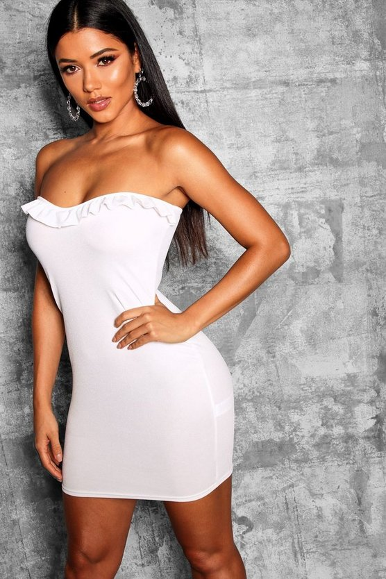 Bandeau Bustier Frill Detail Bodycon Dress