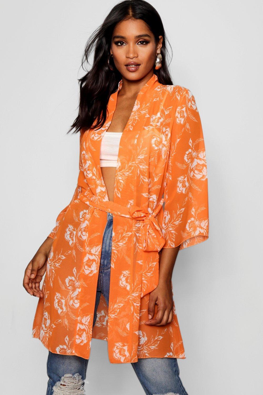 Купить Kimono, Кимоно из ткани с поясом с цветочным рисунком, boohoo