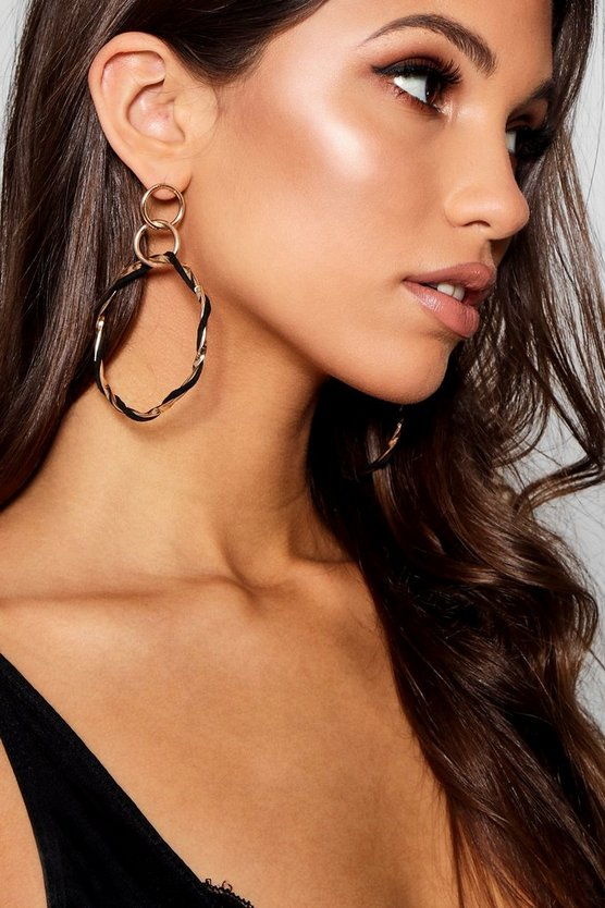 Erin Twisted Contrast Hoop Earrings