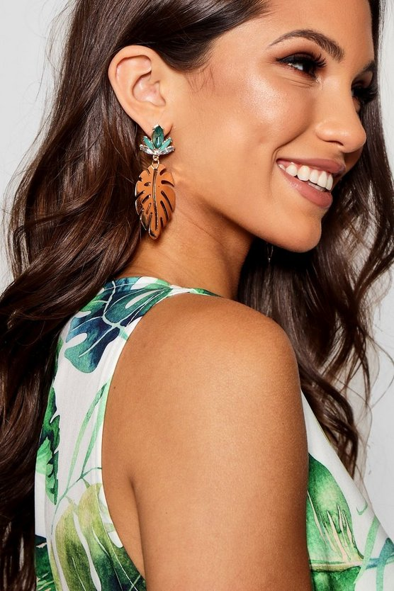 Julia Gem Stud Leaf Earrings