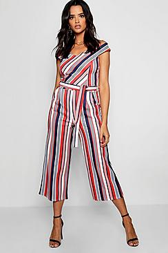 Bardot Stripe Tie Back Jumpsuit
