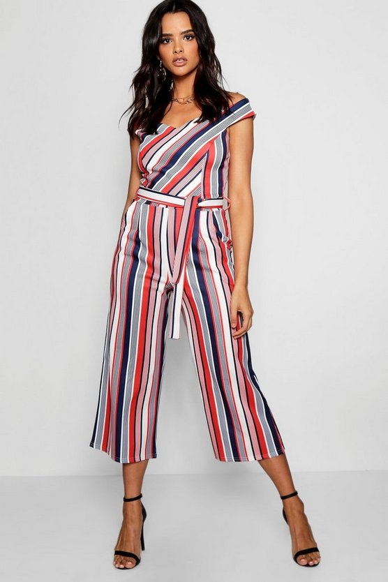 Bardot Stripe Tie Back Jumpsuit