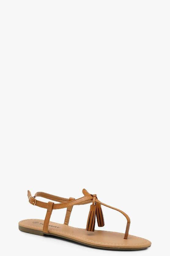 Tassel Trim Toe Post Sandals