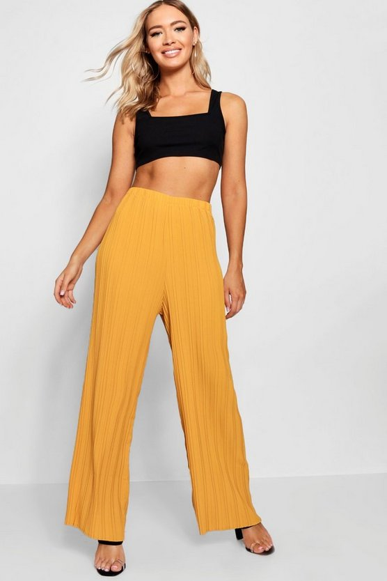 Pleated Woven Wide Leg Trousers