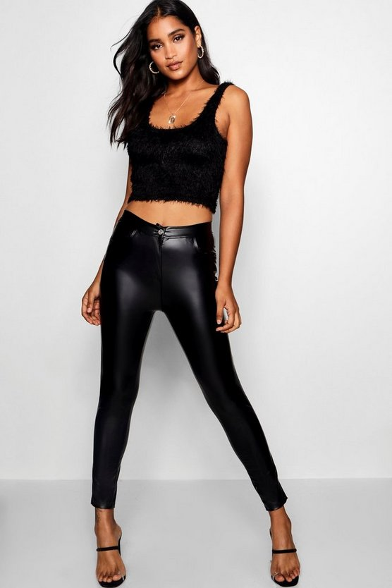 Zeta High Waist Leather Look Trousers