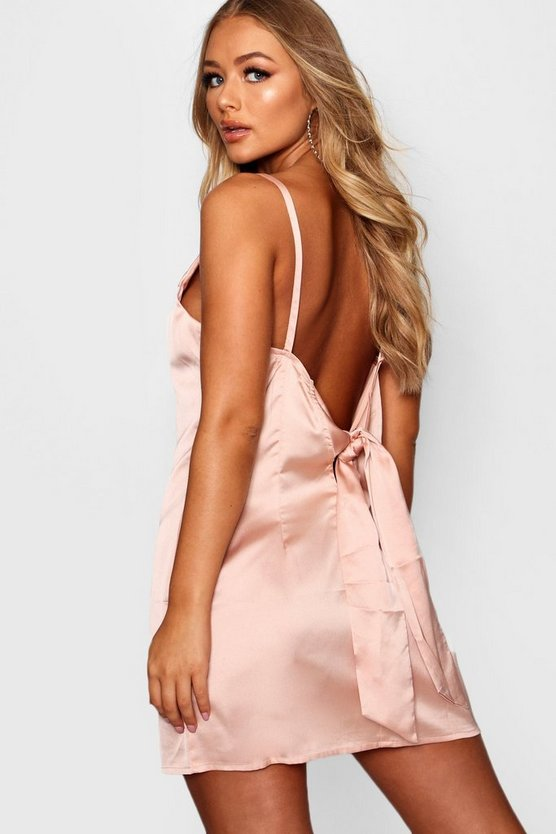 Willow Satin Low Back Detail Shift Dress