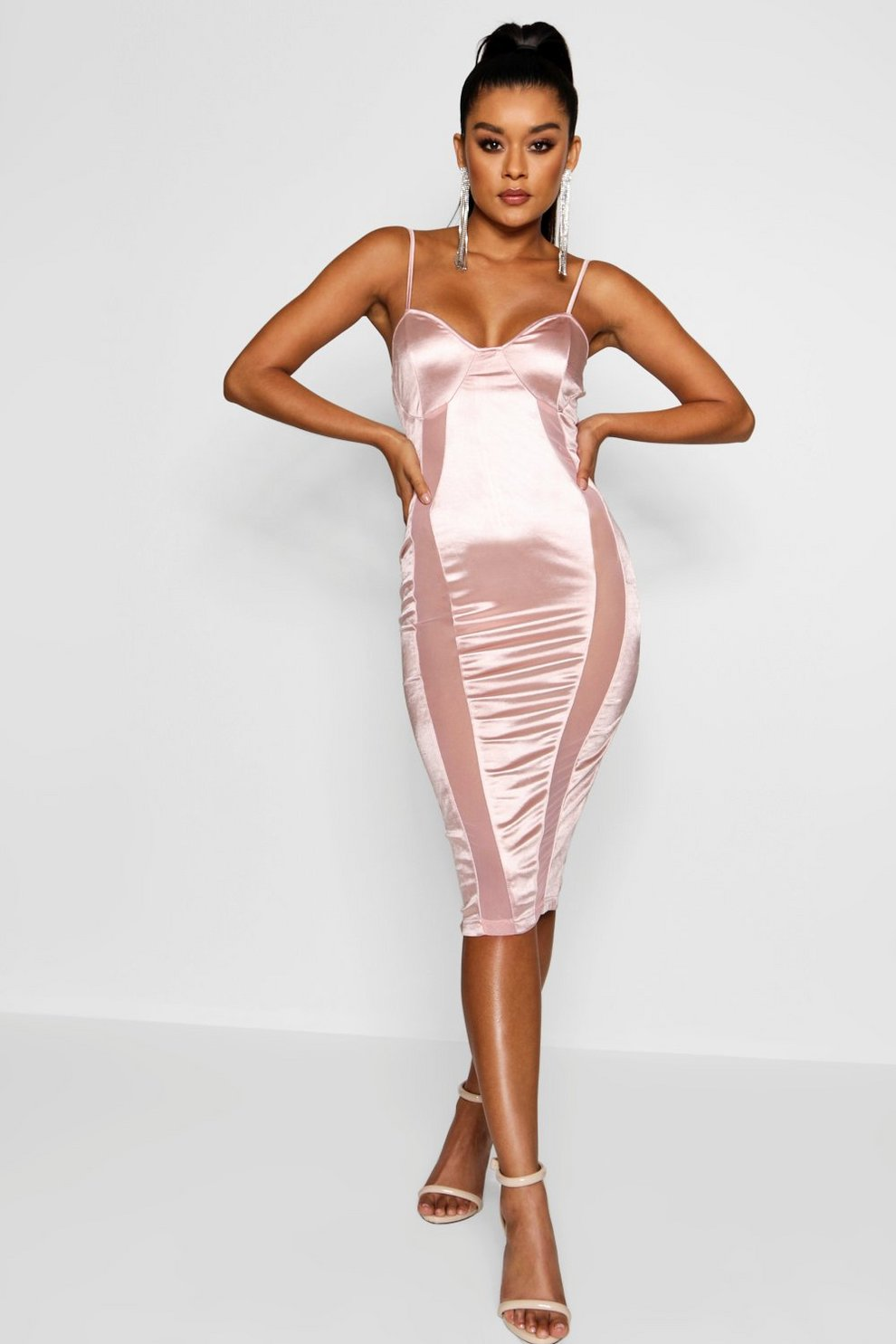Boohoo Polly Satin and Mesh Insert Midi Dress Where To Buy Cheap Real Visit Online Discount Codes Clearance Store Many Kinds Of uVQgSZdy