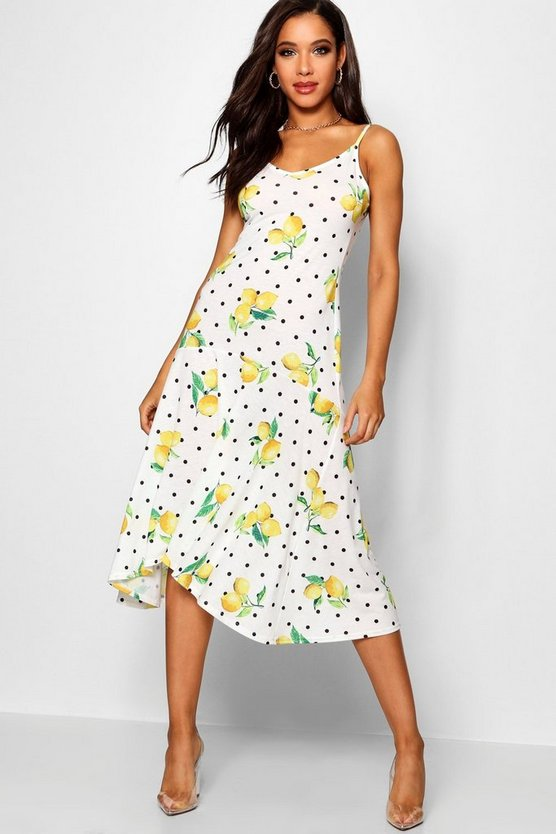 Ruffle Hem Lemon Print Maxi Dress