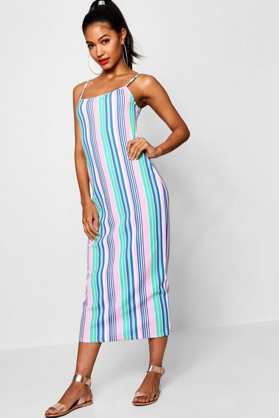 Harriet Square Neck Cami Stripe Midaxi Dress