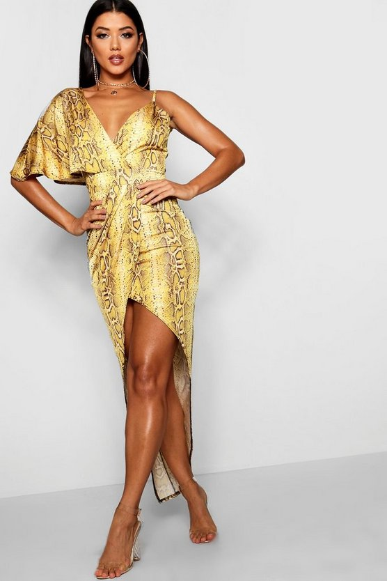 Snake Print Asymmetric One Sleeve Dress