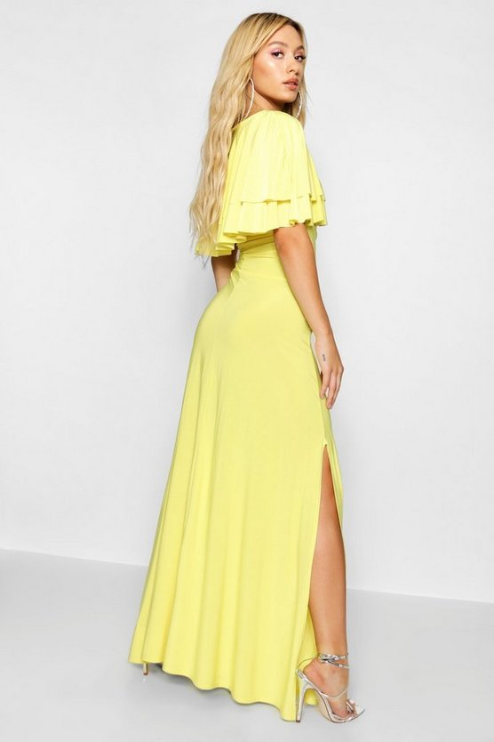 Paris Hilton Ruffle Lace Up Front Maxi Dress