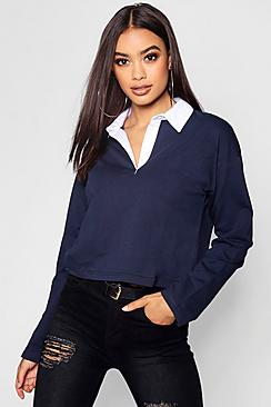Ally Contrast Collar Crop Rugby Top