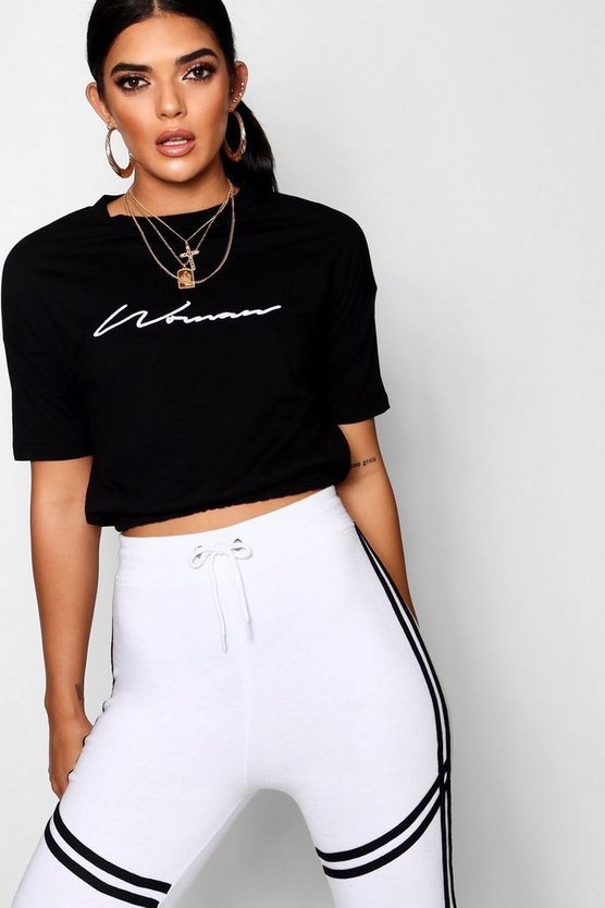 Embroidered Woman Crop T-Shirt