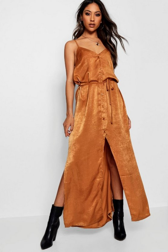 Nicole Hammered Satin Button Maxi Dress