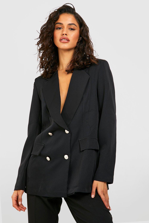 boohoo Womens Double Breasted Boxy Military Blazer - Black - 8, Black