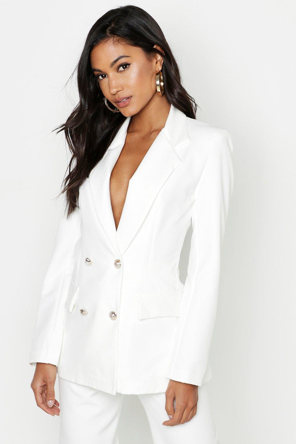 boohoo Womens Double Breasted Boxy Military Blazer - Cream - 14, Cream
