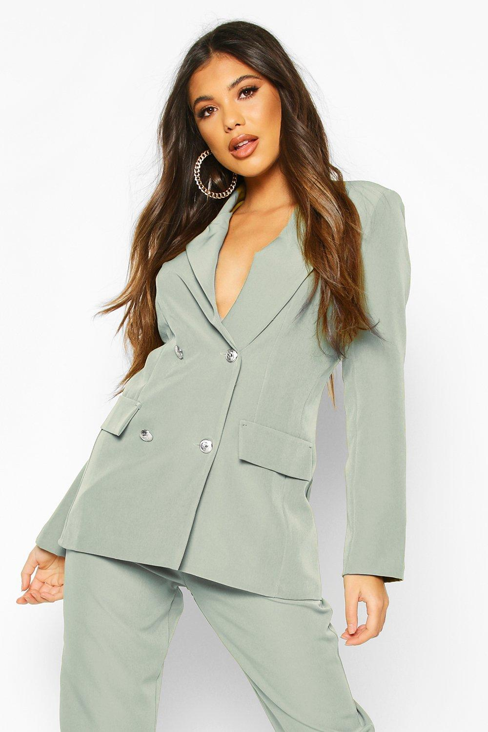 boohoo Womens Double Breasted Boxy Military Blazer - Green - 14, Green