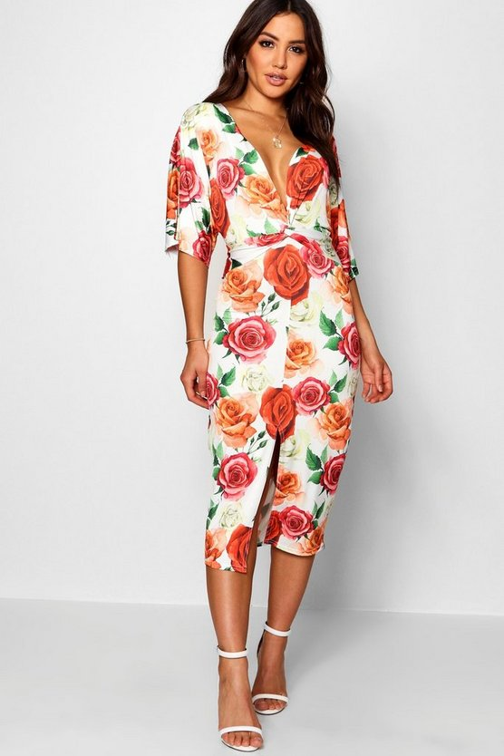 Demi Floral Batwing Twist Front Midi Dress