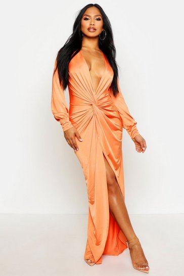Orange Daria Twist Front Plunge Slinky Maxi Dress