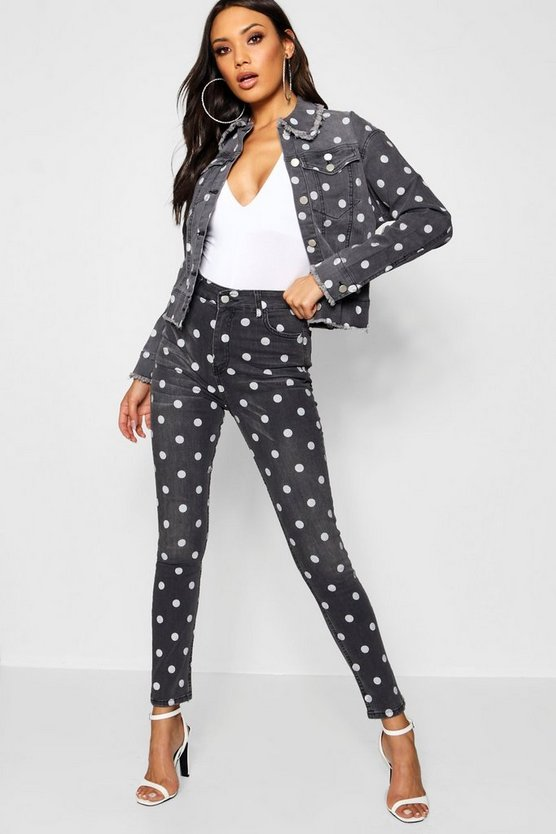 High Waist Polka Dot Denim Skinny Jeans