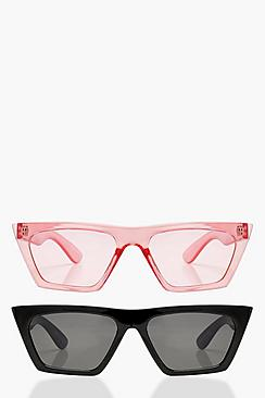 Erin 2 Pack Flat Top Slim Cat Eye Sunglasses