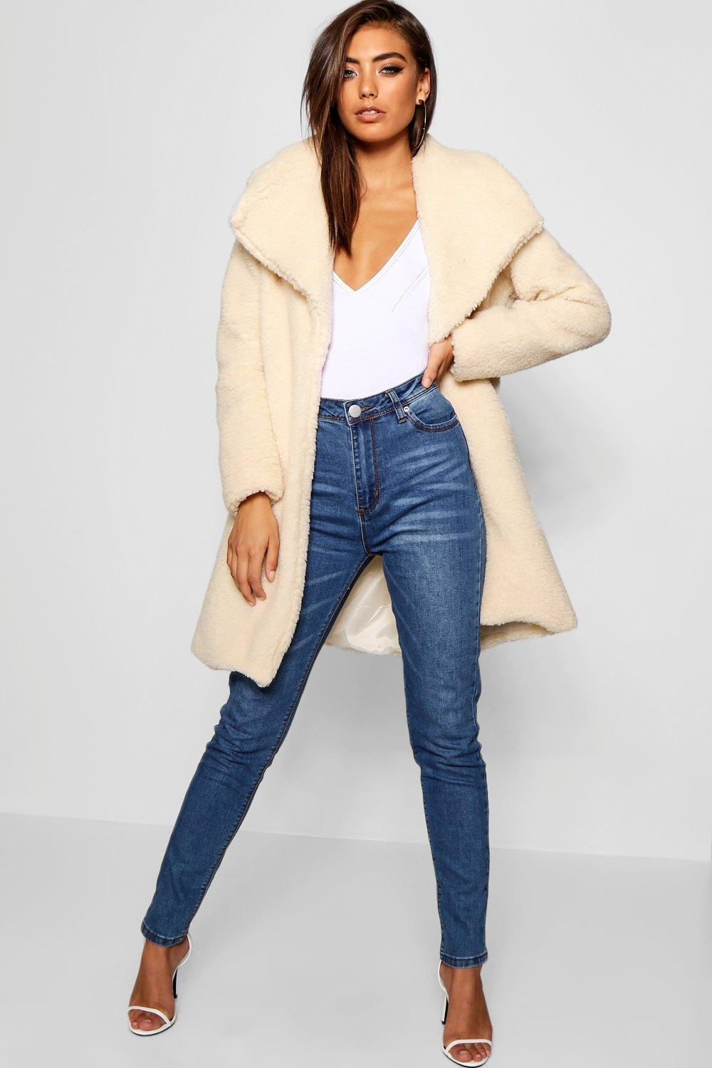 boohoo Womens Shawl Collar Teddy Faux Fur Jacket - White - L, White