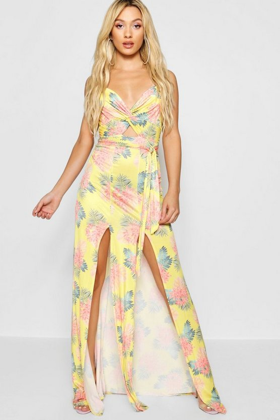 Paris Hilton Twist Front Strappy Maxi Dress