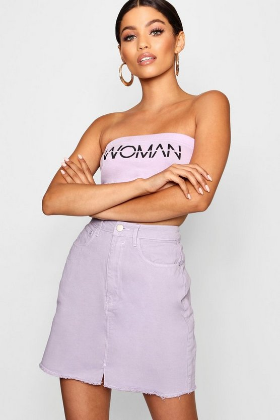 Lilac Raw Hem Denim Skirt