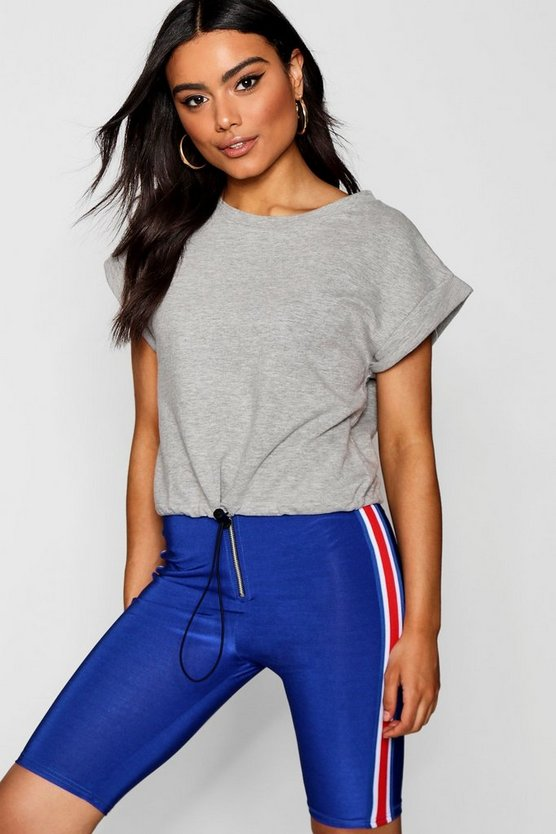 Crop Tee With Toggle Detail