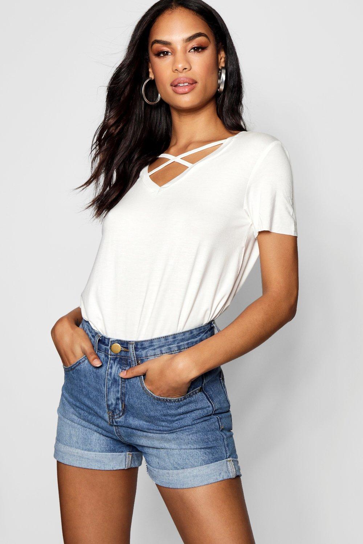 Womens Cross Strap Cage T-Shirt - cream - S, Cream - Boohoo.com