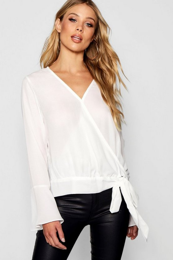 Wrap Front Tie Side Blouse