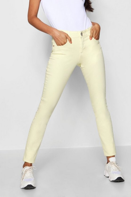 Jeans skinny en denim color limón Amy
