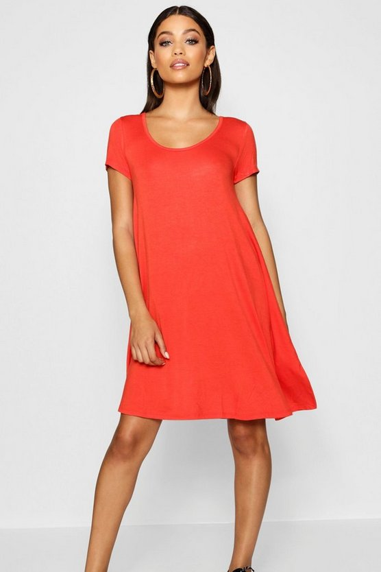 Keyhole Back Jersey Swing Dress
