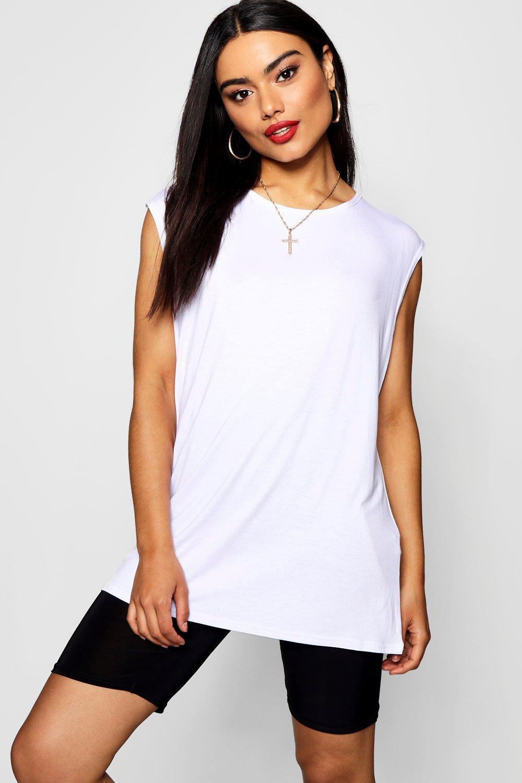 Womens Schlichtes, übergroßes Trägershirt - Weiß - XL, Weiß - Boohoo.com